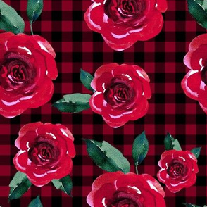 "8"" Red Roses with Black and Red Gingham"