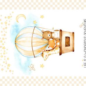 "54""x36"" Panel – Hot Air Balloon Baby Blanket, Nursery Bedding, Minky size"
