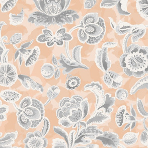 Apricot and Light Grey Watercolor Jacobean