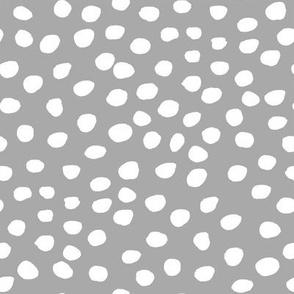 """8"""" White Dots Grey Back"""