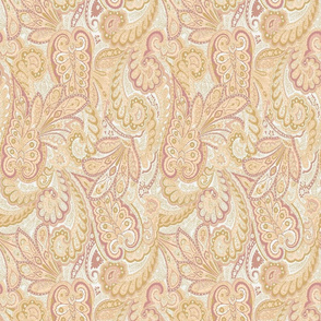 Ivory Gold and Mauve Paisley