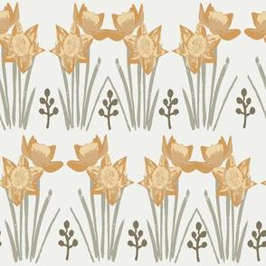 daffodil fabrics - sfx1144, sfx0916, sfx0110- oak leaf, chamomile, sage, daffodil fabric, easter floral fabric, painted floral fabric