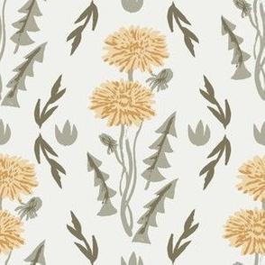 dandelion fabric - sfx1144, sfx0916, sfx0620, sfx0110 chamomile oak leaf sage aloe, weeds fabric, dandelions fabric, earth tone florals fabric, nursery baby fabrics