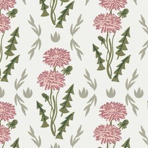 dandelion fabric - sfx1718, sfx1404, sfx0525 clover, blush iguana, weeds fabric, dandelions fabric, earth tone florals fabric, nursery baby fabrics