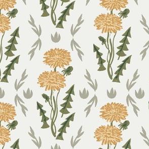dandelion fabric - sfx1144, sfx0525, sfx0916 chamomile oak leaf iguana, weeds fabric, dandelions fabric, earth tone florals fabric, nursery baby fabrics