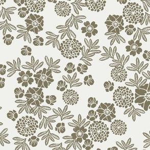 linocut floral fabric - sfx0620 - green floral, aloe floral, home dec fabric,  nursery fabric