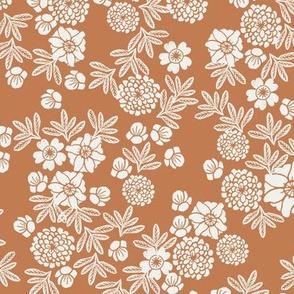woodcut floral fabric - caramel sfx1346 block print wallpaper, woodcut wallpaper, linocut florals, home decor fabric, muted earth tones fabric