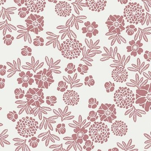 woodcut floral fabric - clover sfx1718 block print wallpaper, woodcut wallpaper, linocut florals, home decor fabric, muted earth tones fabric