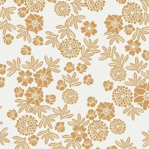 woodcut floral fabric - oak leaf sfx1144 block print wallpaper, woodcut wallpaper, linocut florals, home decor fabric, muted earth tones fabric