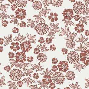 woodcut floral fabric - redwood sfx1443 block print wallpaper, woodcut wallpaper, linocut florals, home decor fabric, muted earth tones fabric