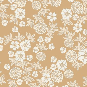 woodcut floral fabric - wheat sfx1225 block print wallpaper, woodcut wallpaper, linocut florals, home decor fabric, muted earth tones fabric