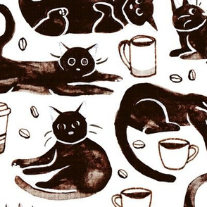 Gouache Black Cats & Coffee  (Large Version)
