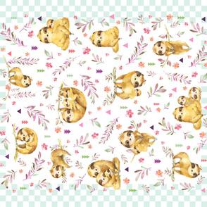 """42""""x36"""" Panel – Sloth Baby Blanket, Nursery Bedding"""