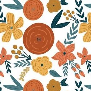 terra cotta & rust  florals - small