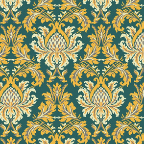 Forrest Green and Gold Traditional Damask
