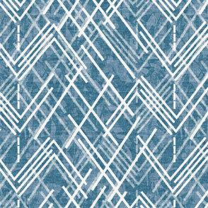 Blue and White Angeled Geometric