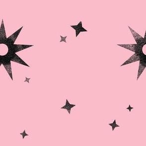 Watercolor Stars Black on Pink