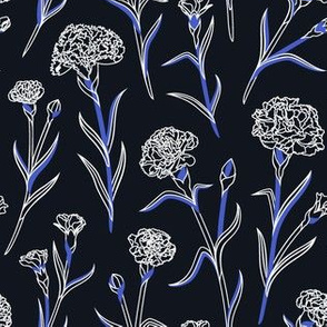 Autumn Carnations - Black&White&Blue