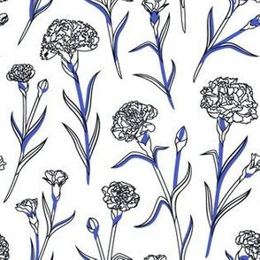 Autumn Carnations - White&Black&Blue