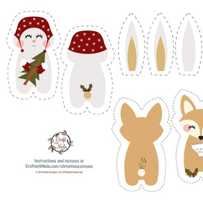 Cut and Sew Christmas Fox and Bunny