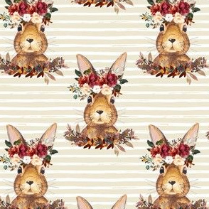 "4"" Harvest Bunny Tan and White Stripes"