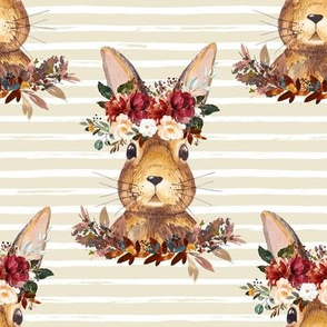 "8"" Harvest Bunny Tan and White Stripes"