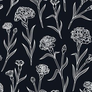 Autumn Carnations - Black&White