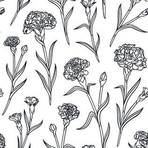 Autumn Carnations- White&Black