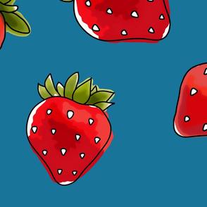 Strawberries On Denim Extra Large