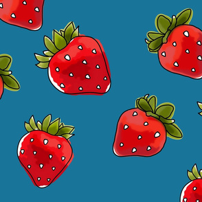 Strawberries On Denim Large