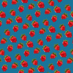 Strawberries On Denim Small