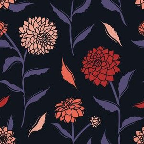 Autumn Dahlias - Black&Pink&Violet