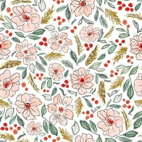 Christmas Blossoms White-9x9