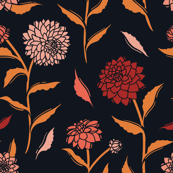 Autumn Dahlias - Black&Gold&Pink