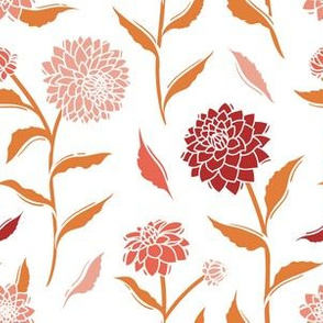 Autumn Dahlias - White&Gold&Pink