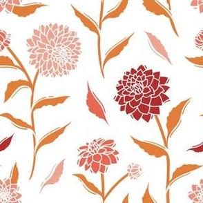 Autumn Dahlias - White&Gold&Pink