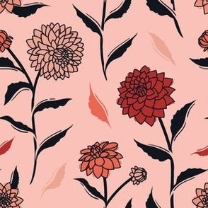 Autumn Dahlias - Pink&Black&Red