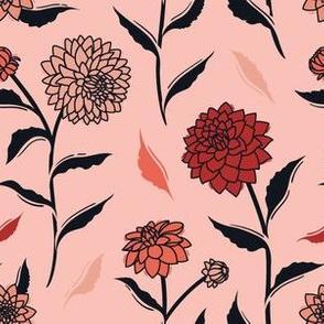 Autumn Dahlias - Pink&Black&Red