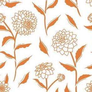 Autumn Dahlias - White&Gold