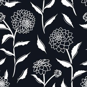 Autumn Dahlias - Black&White