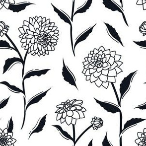 Autumn Dahlias - White&Black