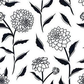 Autumn Dahlias - White&Black