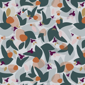 Abstract floral - teal orange