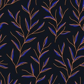 Autumn Leaves - Black&ElectricBlue&Gold