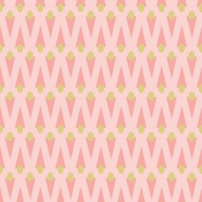 Geometric Feathers in Pink and Gold