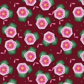 pink floral burgundy
