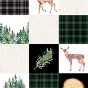 Forest Green Evergreen Buck and Doe Quilt