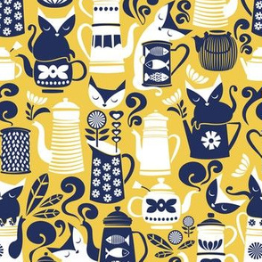 Folk Tea Invitation // small scale // yellow marine blue and white cats