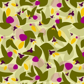 Abstract floral - olive fuchsia