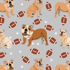 bulldogs fabric - football fabric, dogs and footballs fabric, sports fabric, mascot fabric, bulldog design - grey